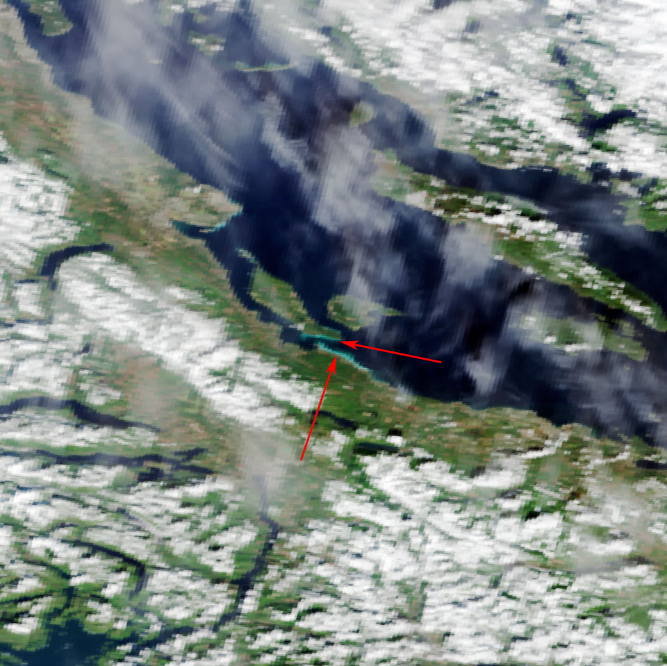 The herring spawn is clearly apparent as a bright blue patch in this Sentinel 3A OLCI imagery from 9 March 19:22 UTC. Processed by PML/NCEO/NEODAAS.
