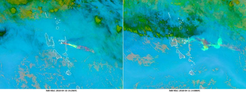 Himawari-8 Volcanic Ash RGB, left image 10 April 19:20 UTC, right image 11 April 14:00 UTC
