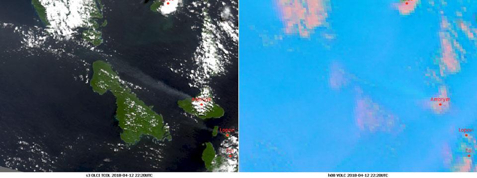 Left image Sentinel-3 OLCI True Colour RGB, 12 April 22:20 UTC, right image Himawari-8 Volcanic Ash RGB 12 April 22:20 UTC