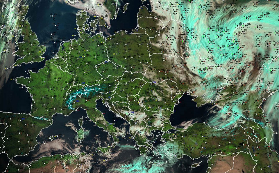 Meteosat-11 Natural Colour RGB with surface observations overlaid, 19 April 06:00 UTC