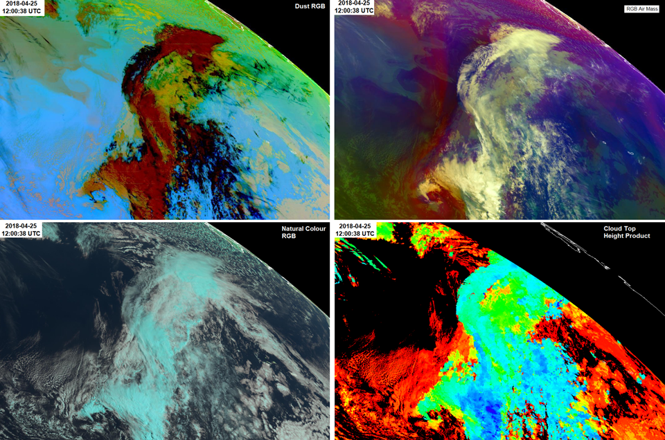 Comparison of GOES-16 ABI products, Dust RGB (top left), Airmass RGB (top right), Natural Color RGB (bottom left), Cloud Top Height (bottom right), 25 April 12:00 UTC