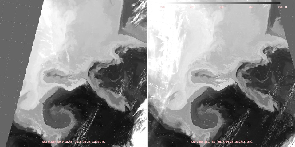 Comparison of Sentinel-3A SLSTR (left) and Suomi-NPP VIIRS infrared imagery, 25 April 13:07 UTC