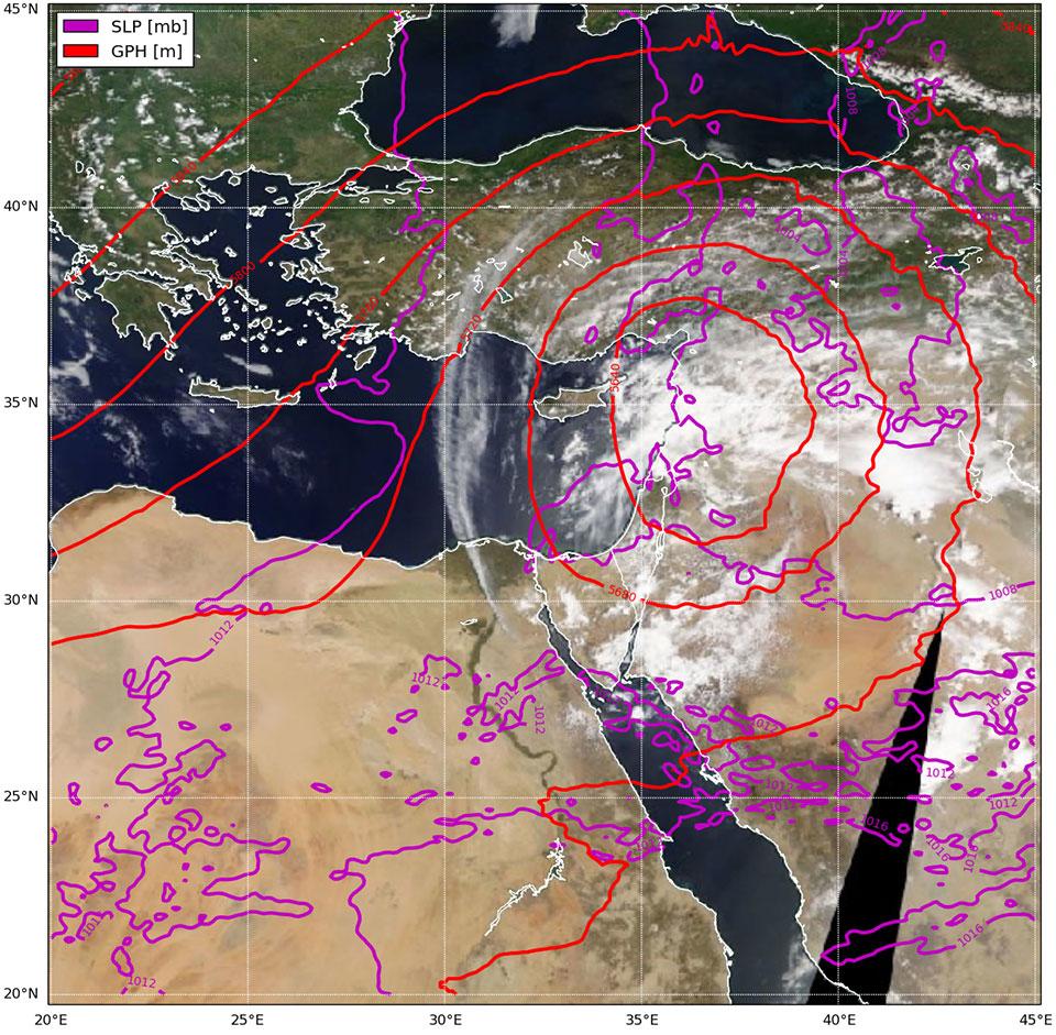 ECMWF NWP synoptic analysis layered over MODIS True Color RGB image, 26 April 12:00 UTC. Courtesy of Elyakom Vadislavsky.