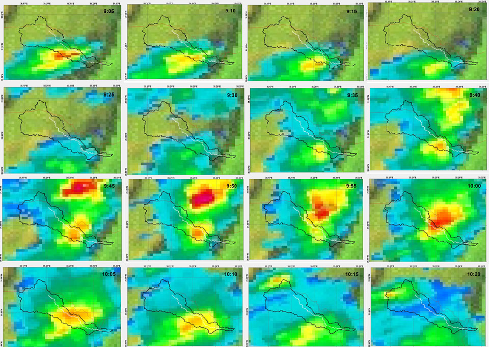 Enlarged IMS radar images between 09:05 UTC and 10:20 UTC of the Tsafit stream water shed. Courtesy of Dr Noam Halfon.