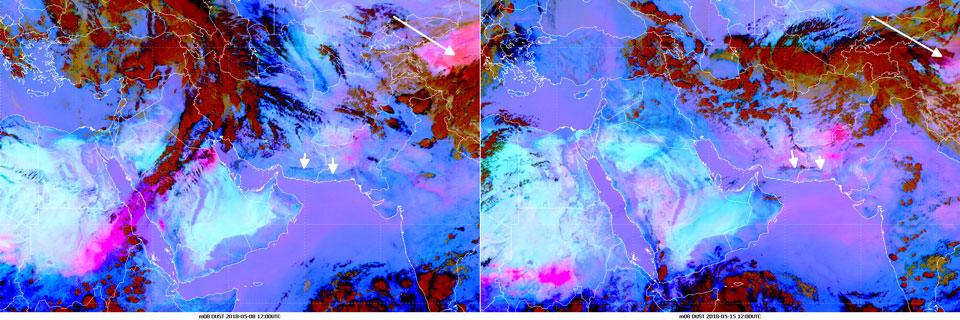 Meteosat-8 Dust RGB, 8 May 12:00 UTC (left) and 15 May 12:00 UTC (right)