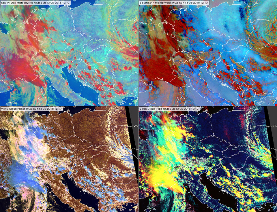 SEVIRI Day Microphysics and 24-hour Microphysics RGBs at 12:10 UTC (upper row left and right), VIIRS Cloud Phase and Cloud Type RGBs at 12:17 UTC (bottom row left and right)