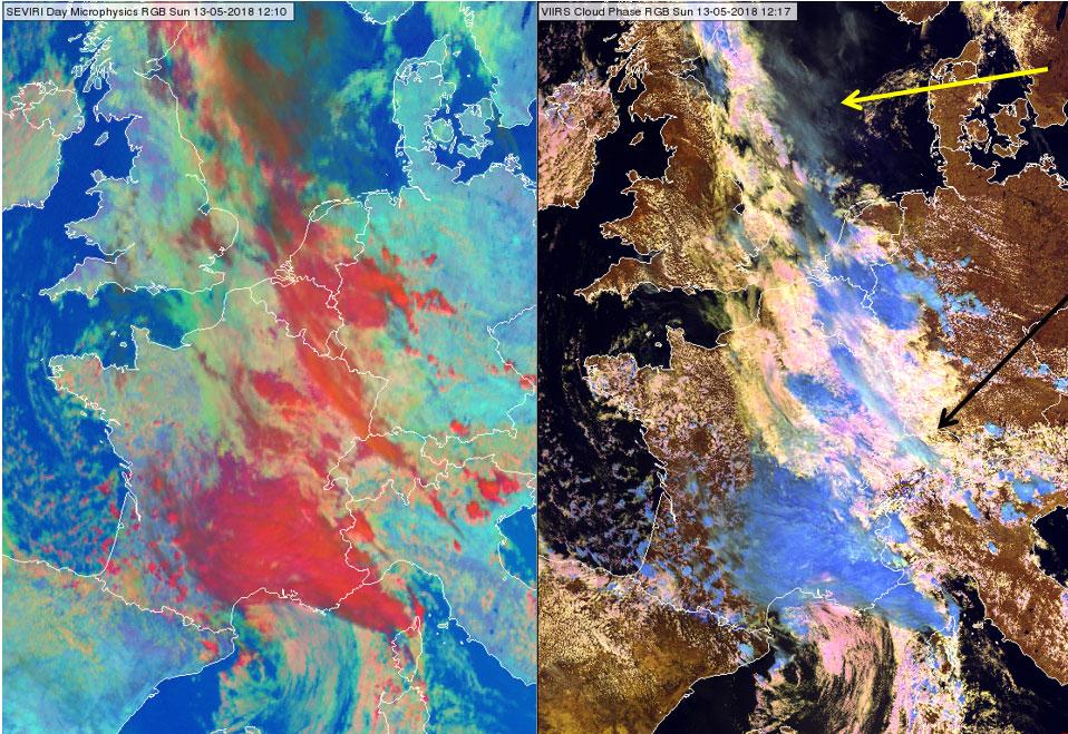 SEVIRI Day Microphysics RGB at 12:10 UTC (left) and VIIRS Cloud Phase RGB at 12:17 UTC (right)
