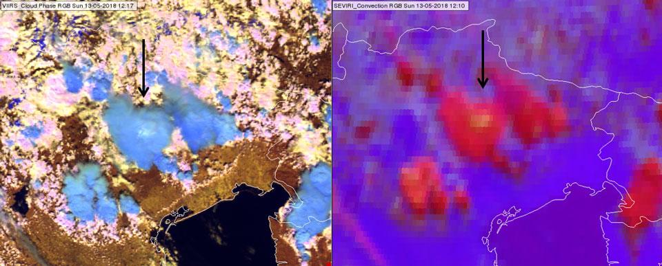 VIIRS Cloud Phase RGB at 12:17 UTC (left) and SEVIRI Convection RGB at 12:10 UTC (right)