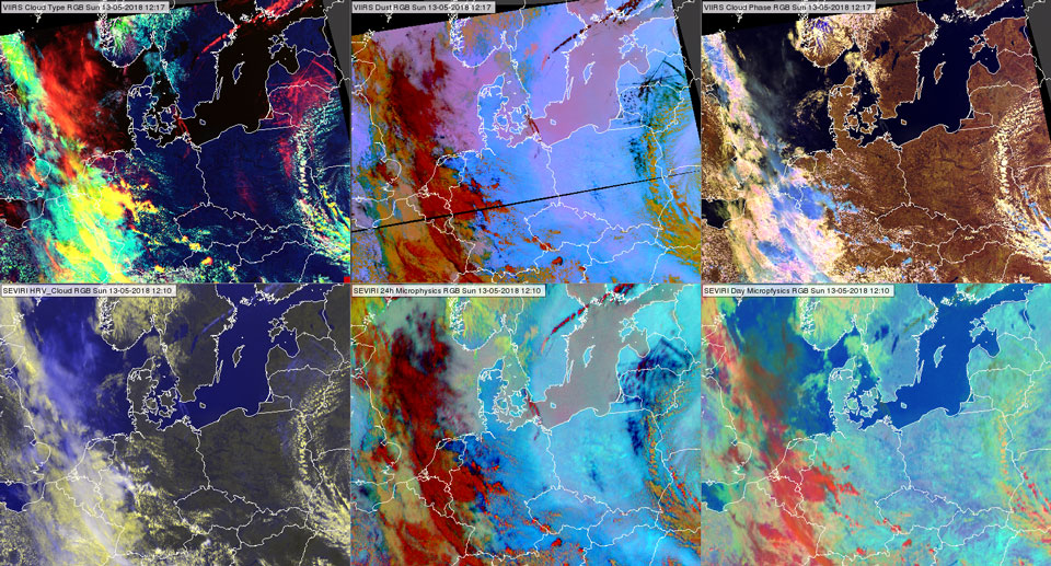 VIIRS Cloud Type RGB, Dust RGB and Cloud Phase RGB at 12:17 UTC (upper row from left to right) and SEVIRI HRV Cloud RGB, 24-hour Microphysics and Day Microphysics RGBs at 12:10 UTC (bottom row from left to right)