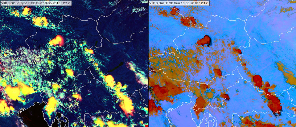 VIIRS Cloud Type RGB (left) and VIIRS Dust RGB (right) at 12:17 UTC