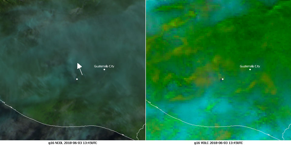 GOES-16 Natural Color RGB (left) and Volcanic Ash RGB (right) images, 3 June 13:45 UTC