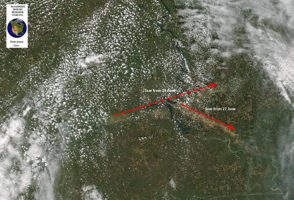 Terra MODIS True Color RGB showing the scars of the areas affected by high winds and large hail that pulverised crops.