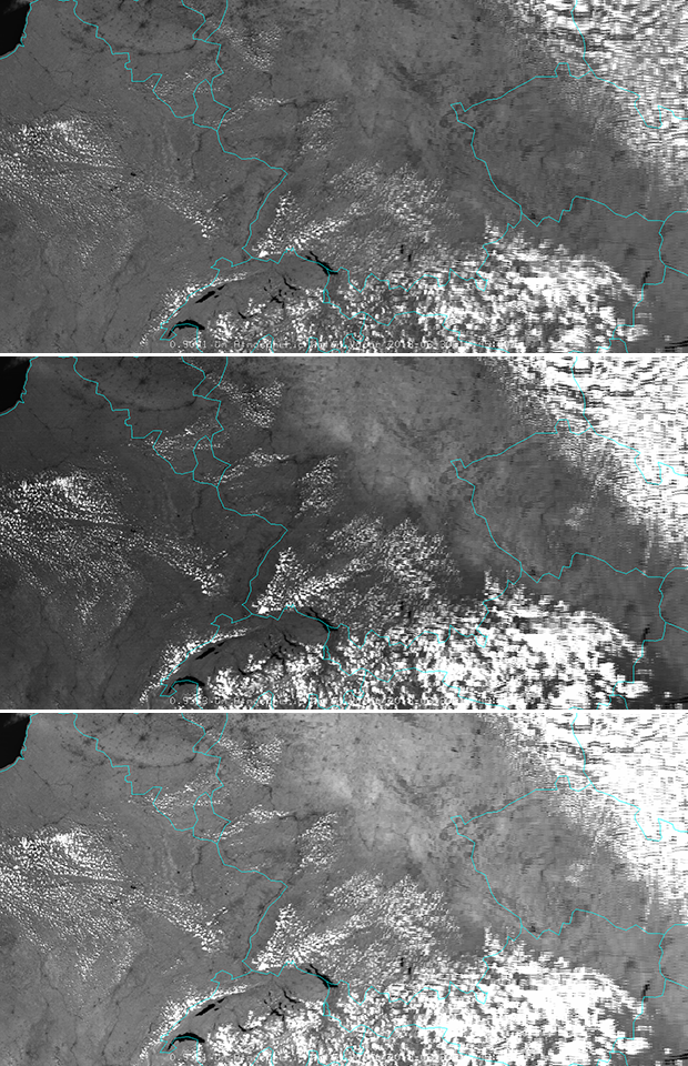 MODIS imagery, 30 June 00:00 UTC, MODIS 0.904 µm at 1 km (top), MODIS 0.935 µm at 1 km (middle), MODIS 0.936 µm at 1 km (bottom)
