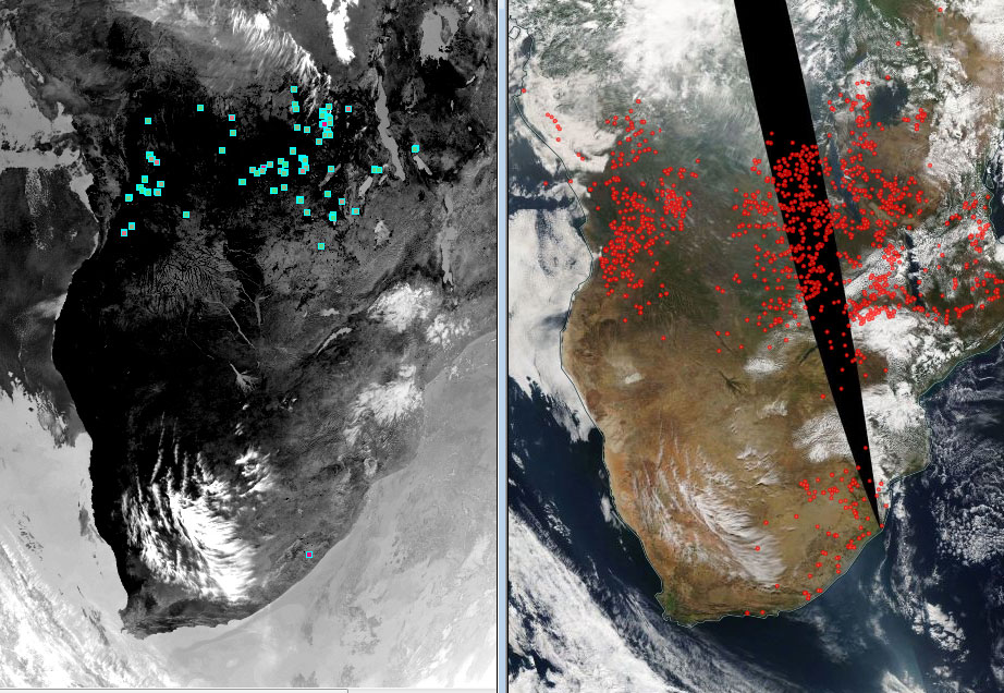 Comparison of Meteosat (over 3.9 µm) on the left and Terra MODIS (right), also for the 10:30 UTC ascending pass on 23 July over southern Africa.