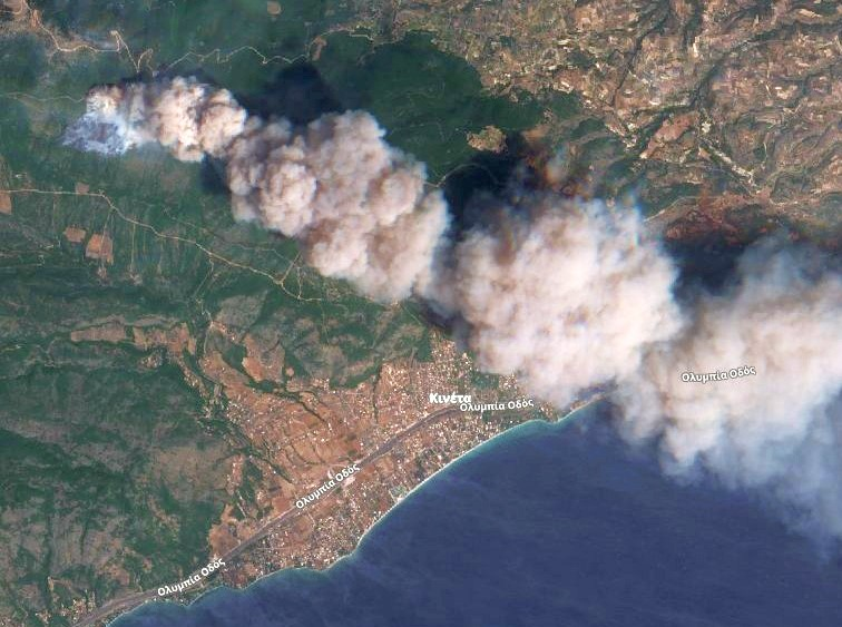 Sentinel-2 solar image depicting the smoke and a small patch of burning ground close to the town of Kineta (Greece).