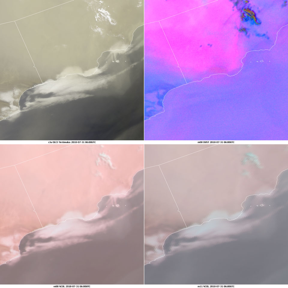 Clockwise: Sentinel-3 OLCI True Colour RGB, Meteosat-8 Dust RGB, Meteosat-10 Natural Colour RGB and Meteosat-8 Natural Colour RGB, 31 July 06:00 UTC