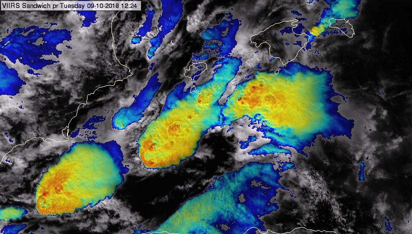 Suomi-NPP Sandwich product (VIS0.67/IR10.8 blended image), 09 October, 12:24 UTC.
