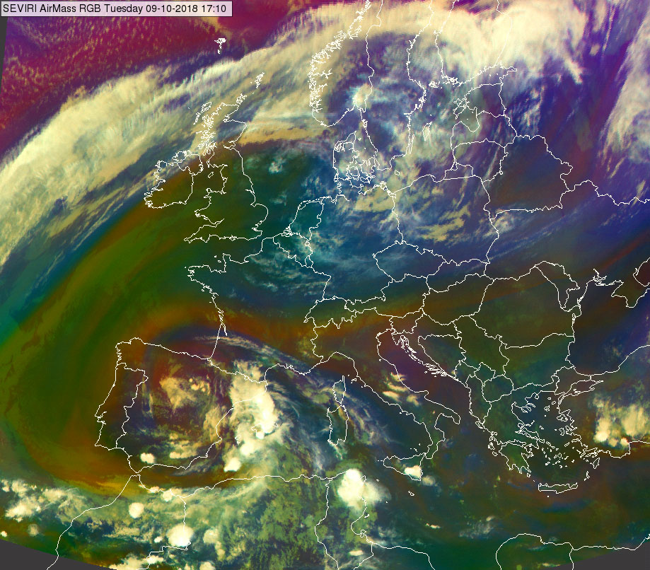 Meteosat-11 Airmass RGB, 9 October, 17:10 UTC