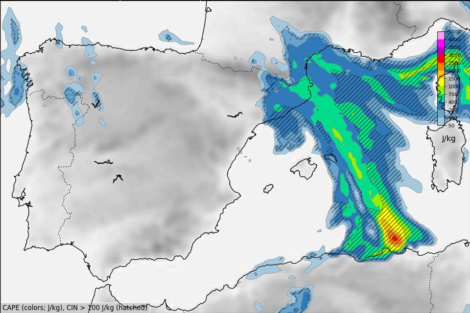 ECMWF CAPE model, 15 Oct, 03:00 UTC
