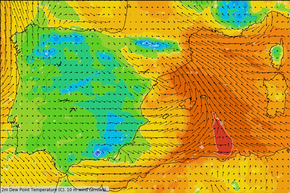 2 m Dew Point and wind from the ECMWF model