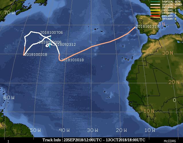 Storm Leslie's journey from 23 Sept 12:00 UTC to 13 Oct 18:00 UTC.