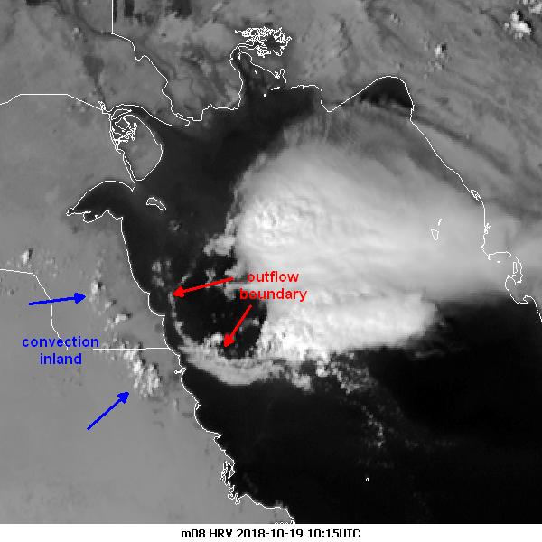 Enhanced, annotated Meteosat-8 HRV, 19 October 10:15 UTC