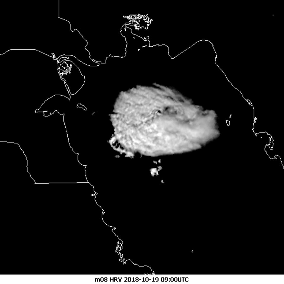 Enhanced Meteosat-8 HRV, 19 October 09:00 UTC