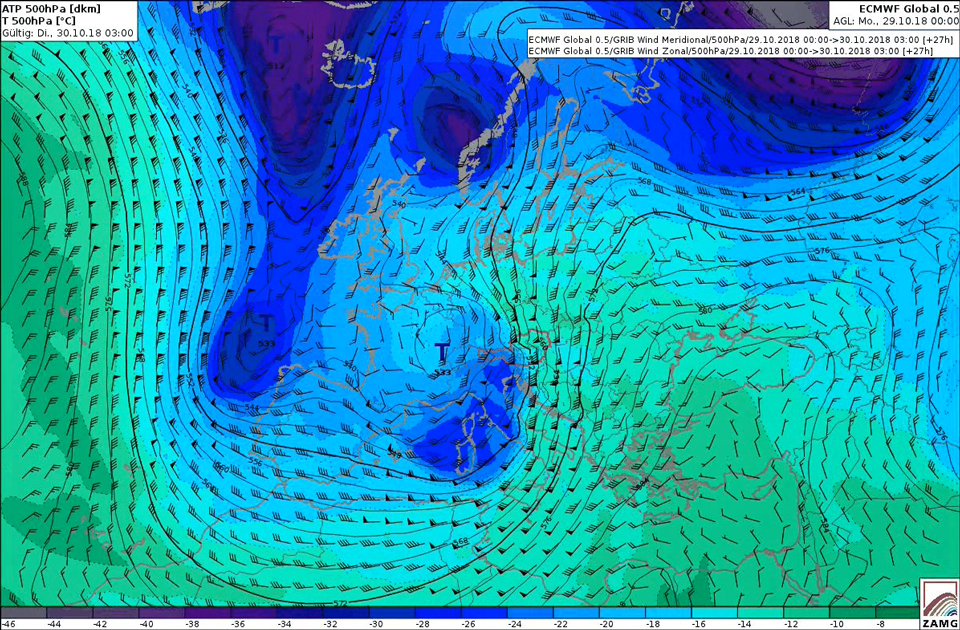 ECMWF Geopotential and Temperature field, with Wind Barbs at 500hPa level 4 (Credit: ZAMG)