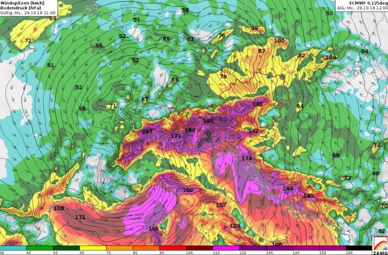 ECMWF furcated surface level pressure and wind speed and wind direction (Credit: ZAMG)