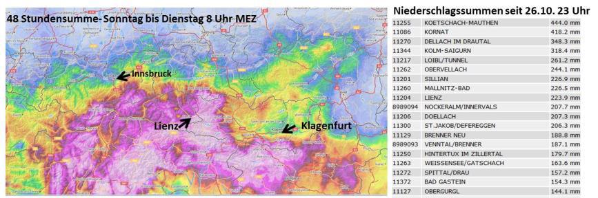 48h accumulated rain amounts (28–30 October) (Credit: ZAMG)