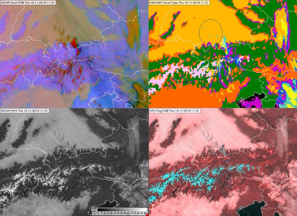 Meteosat-11 SEVIRI Dust RGB, High Resolution Visible, Fog RGB and NWS SAF Cloud Type Product, 15 Nov, 11:30 UTC.