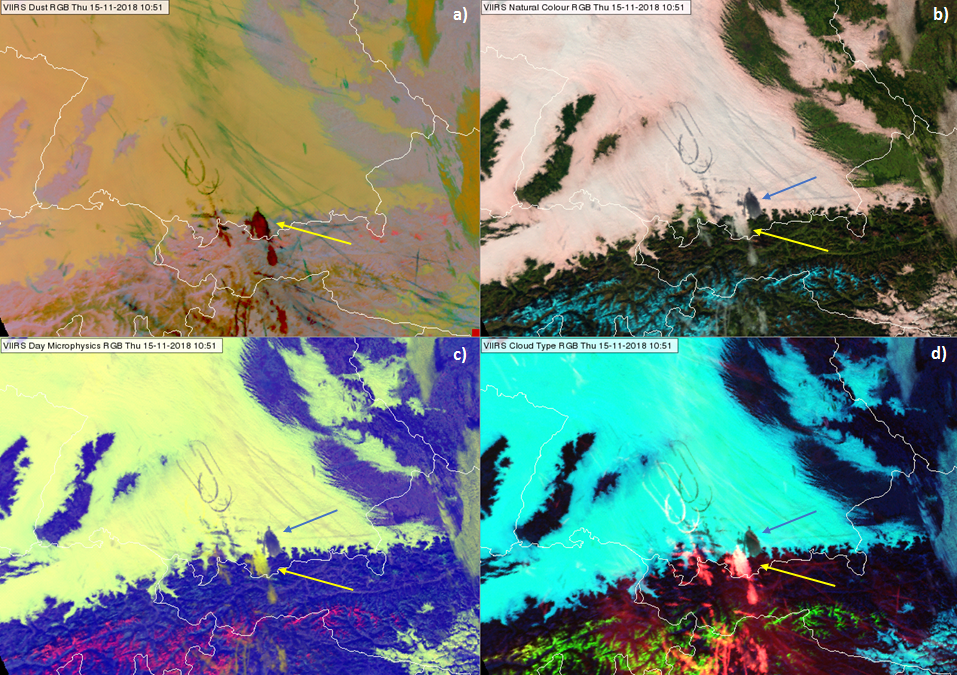 Synoptic overview over different VIIRS RGB products centered over South Central Germany on 15 Nov 10:51 UTC. Yellow arrow points at the cirrus cloud, blue arrow point to the corresponding shadow.