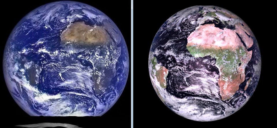 Comparison between the Meteosat-101 Natural Colour RGB (right) with Earthrise photo from the Lunar Renaissance Orbiter (LRO)(left).