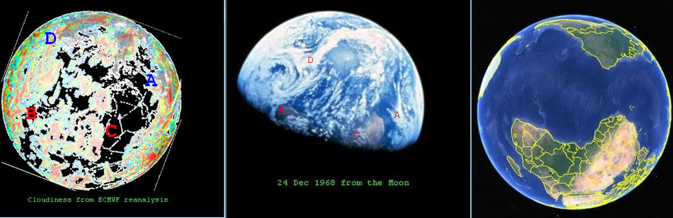 Comparison between the reanalysis from ERA-40 (left) with the actual Earthrise photo (centre) plus a geographical reference from Google Earth (right).