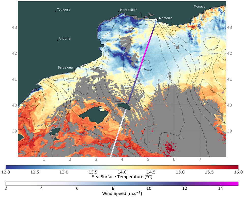 Sentinel-3A SLSTR sea surface temperature and SRAL winds (coloured dots, lower scale) from Level 2 data, 15 January.