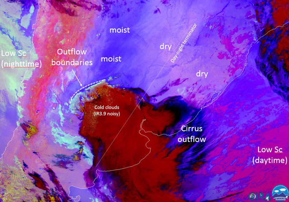 GOES-16 Night Microphysics RGB, 4 March 10:00 UTC. Credit: CIRA
