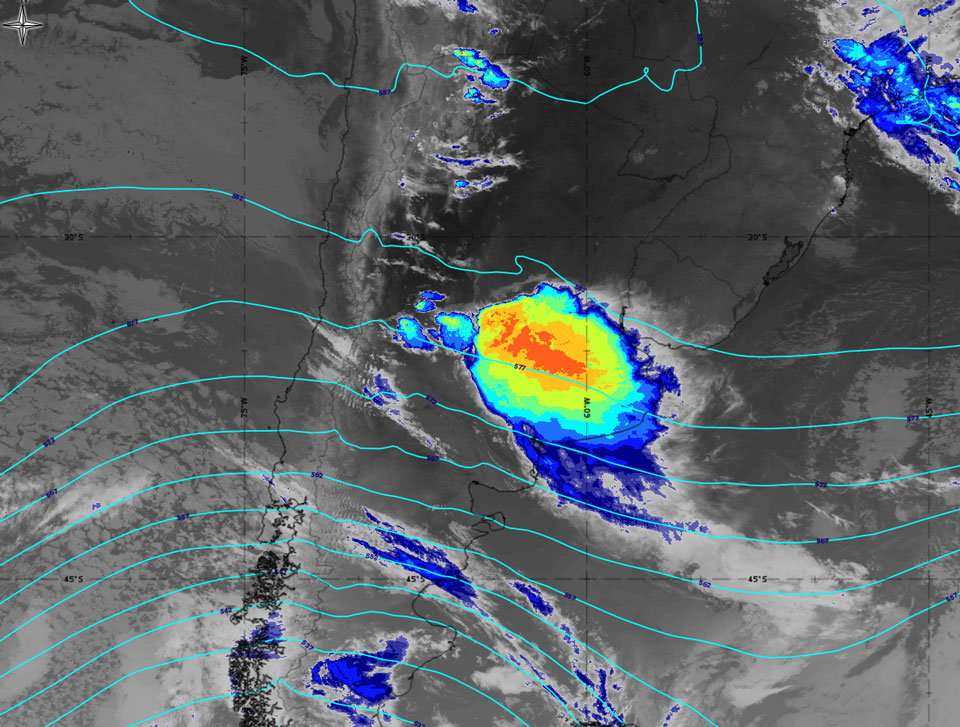GOES-16 IR10.3 image with absolute topography at 500 hPa. Credit: EUMeTrain ePort