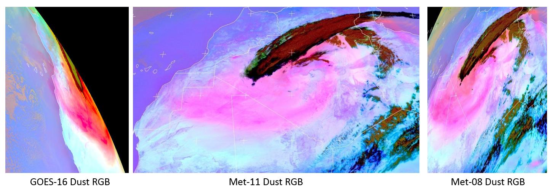 Meteosat-11 Dust RGB, Meteosat-8 Dust RGB and GOES-16 Dust RGB, 10 March 11:00 UTC