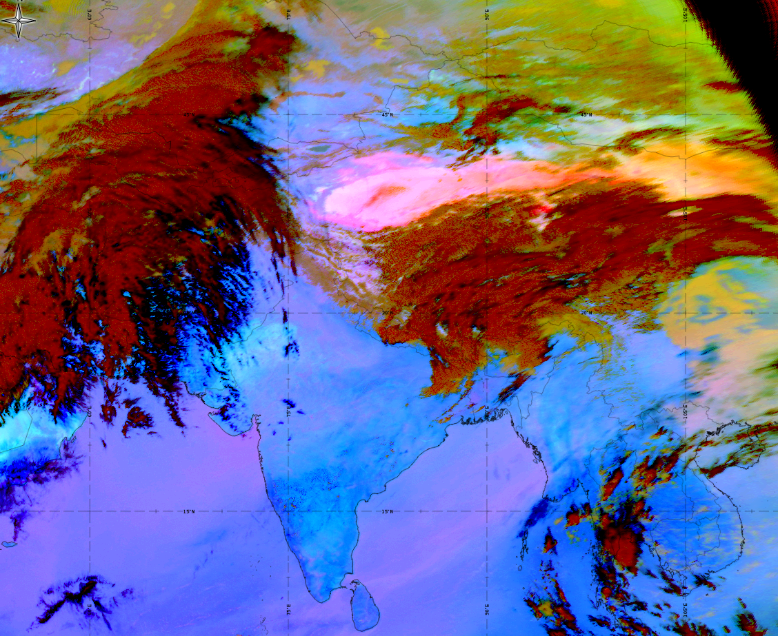 Meteosat-8, Dust RGB, 26 March 09:00 UTC