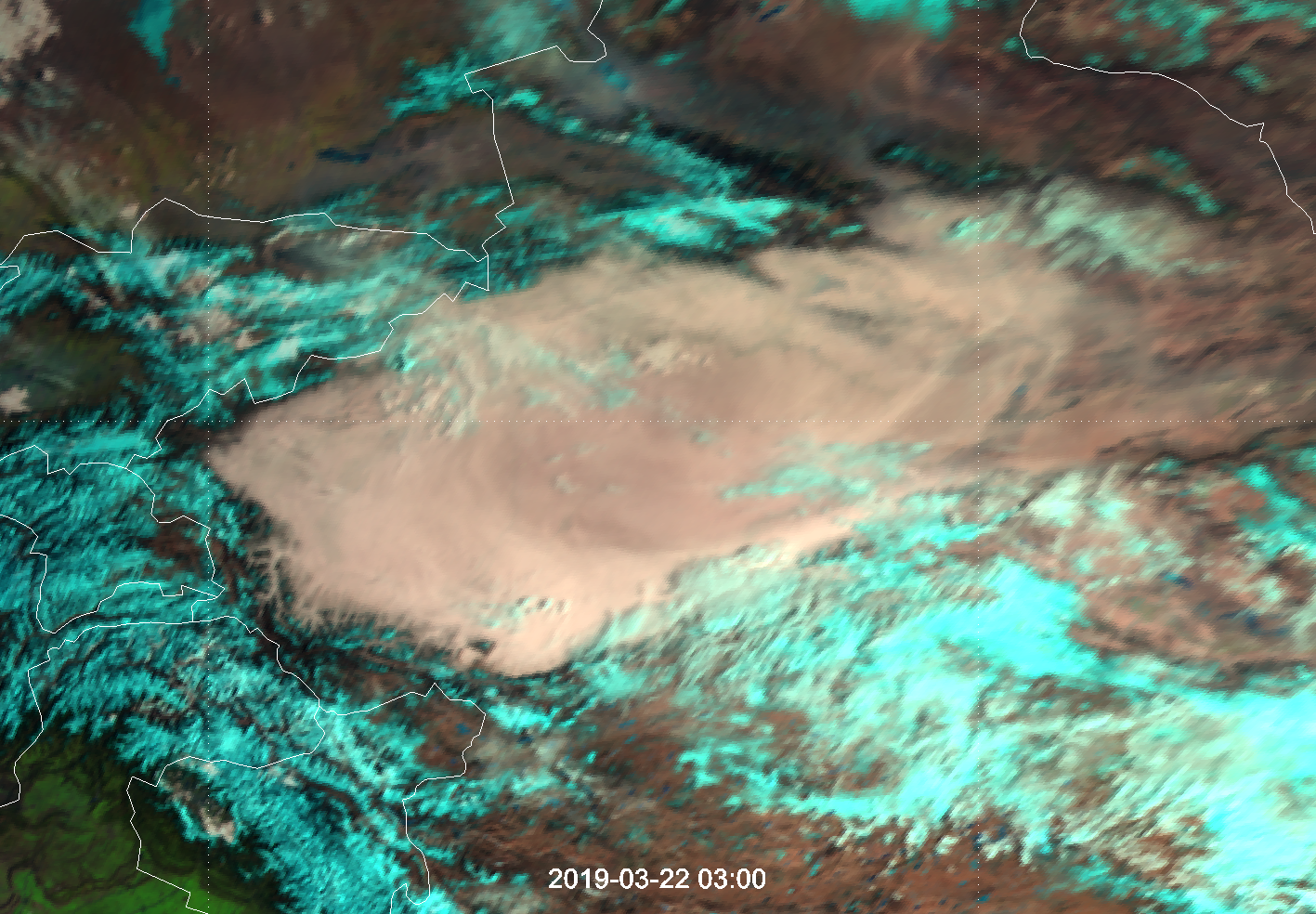 Meteosat-8, Natural Colour RGB, 22 March 03:00 UTC