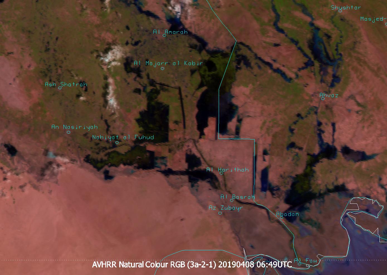 Meteosat-8 AVHRR Natural Colour RGB, 8 April, 06:49 UTC