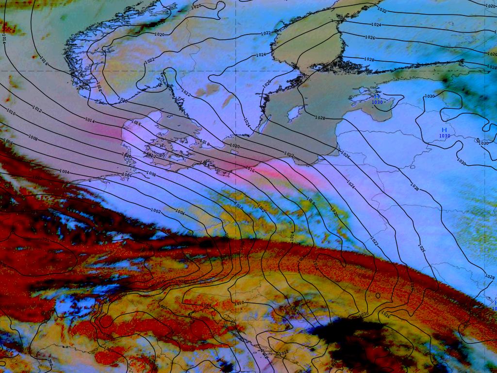Meteosat-11 Dust RGB with surface analysis overlaid, 23 April 12:00 UTC