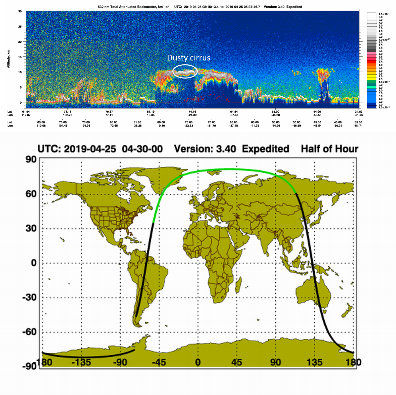 CALIOP lidar curtain (532 nm attenuated backscatter) from the CALIPSO satellite, 25 April