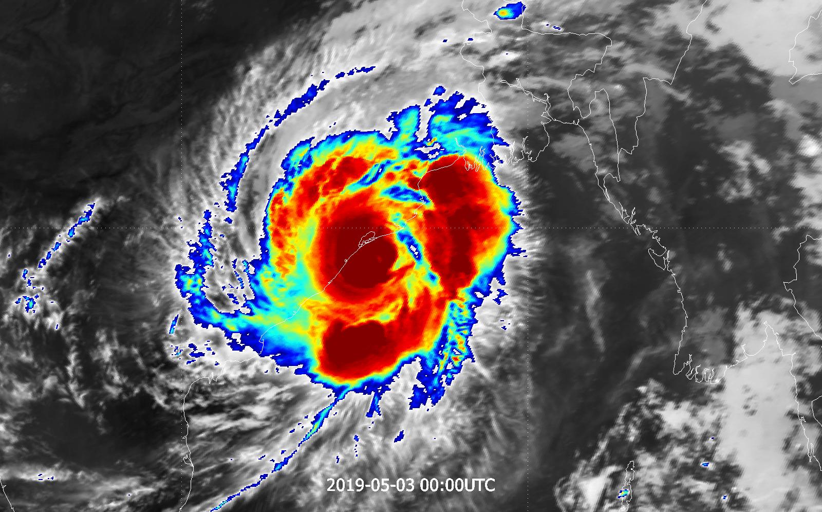 Meteosat-8 enhanced infrared, 3 May 00:00 UTC