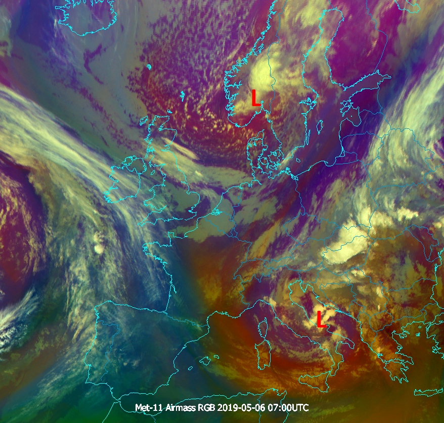 Meteosat-11 Airmass RGB, 6 May, 07:00 UTC