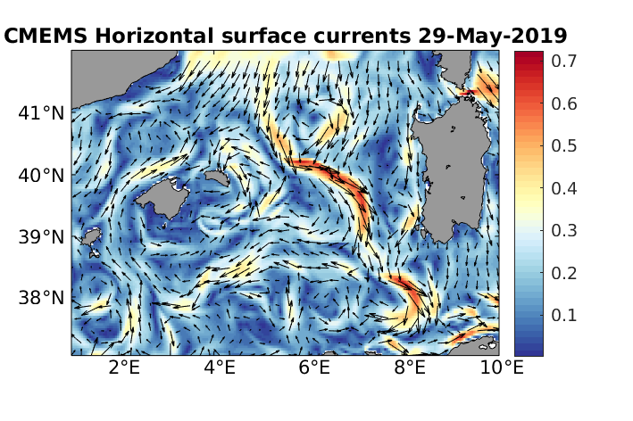 Surface currents on 29 May, as calculated by CMEMS Mediterranean Sea physics analysis and forecast model.