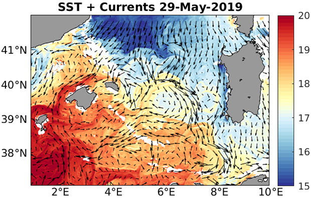 Sea Surface Temperature (colours) and horizontal currents from the CMEMS Mediterranean Sea physics analysis and forecast model (arrows) on 29 May 2019.