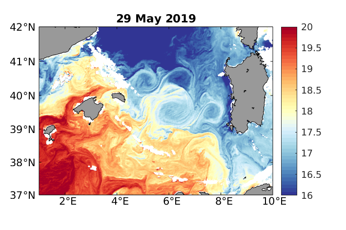 Sea Surface Temperature in the western Mediterranean Sea, Sentinel-3 SLSTR, 29 May. White areas are clouds.