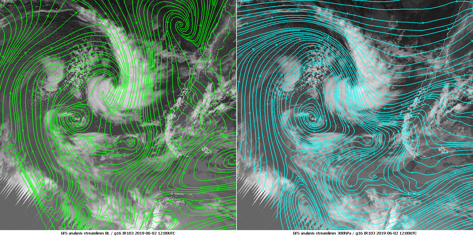 Streamlines in the planety boundary layer and at 300 hPa from the GFS analysis of 2 June 2019 12:00 UTC, laid over IR10.3 band from GOES-16