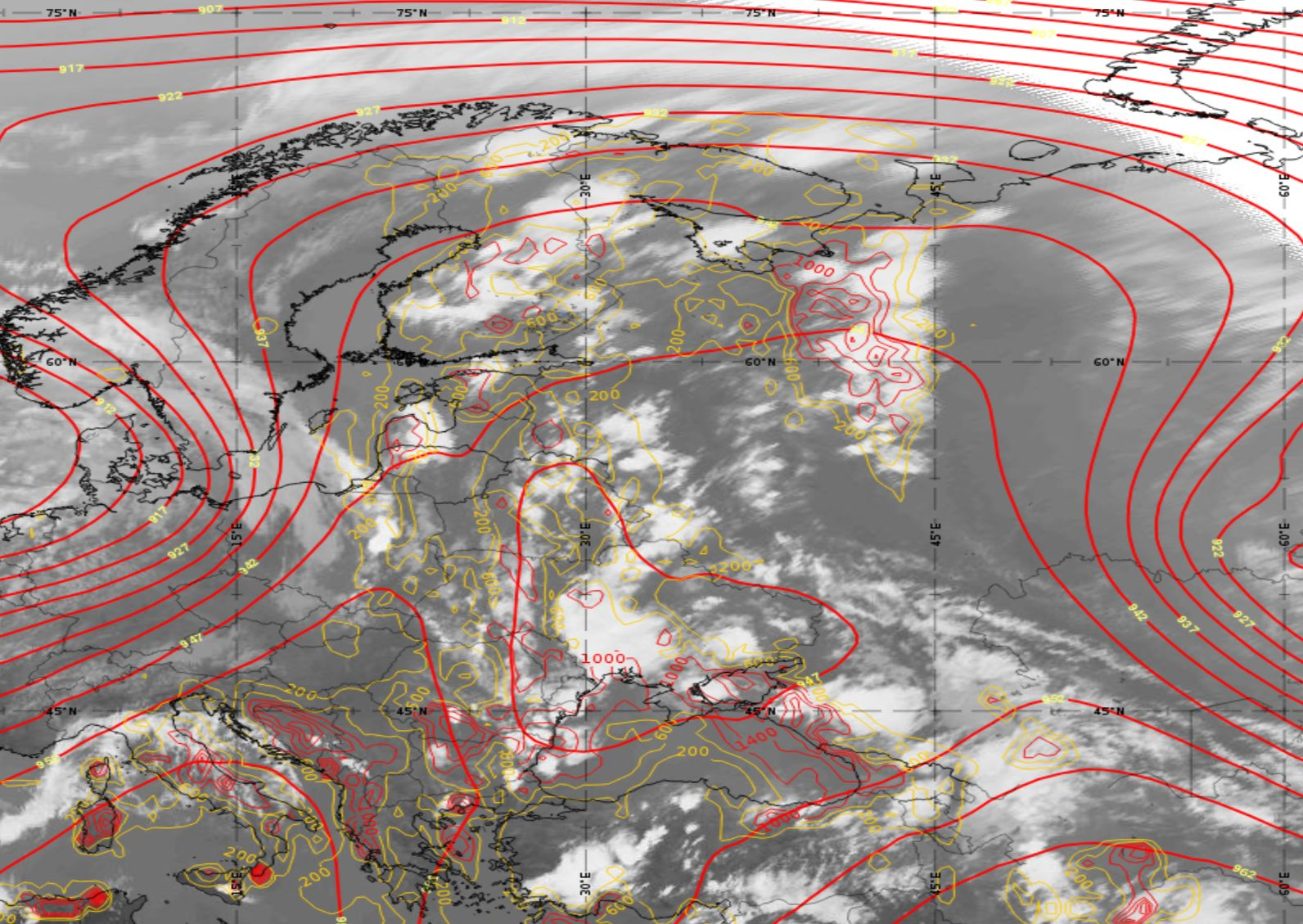 Met-11 IR10.8 image with overlay of Geopotential Height at 300 hPa and CAPE field 15:00 UTC